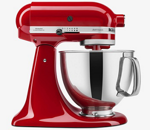 Una batidora KitchenAid color rojo imperial con un bowl metalico.