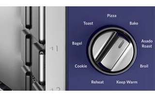9 Pre-programmed Functions: Bake, Pizza, Asado Roast, Toast, Broil, Cookie, Bagel, Keep Warm and Reheat