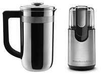 Exclusive Precision Press Coffee Maker + Coffee Grinder Set