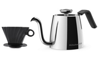 Exclusive Precision Gooseneck Stovetop Kettle + 4 Cup Pour Over Cone Set
