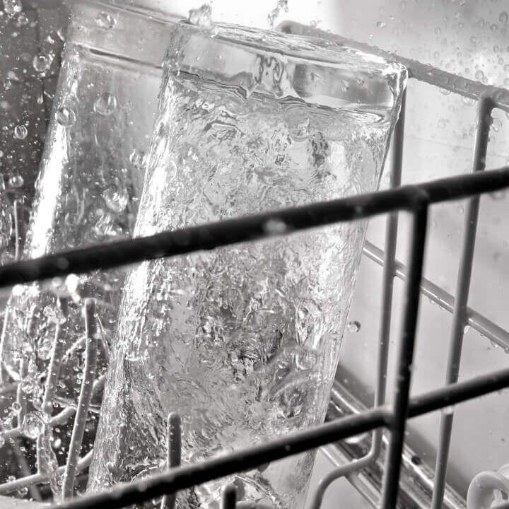 Glass in dishwasher