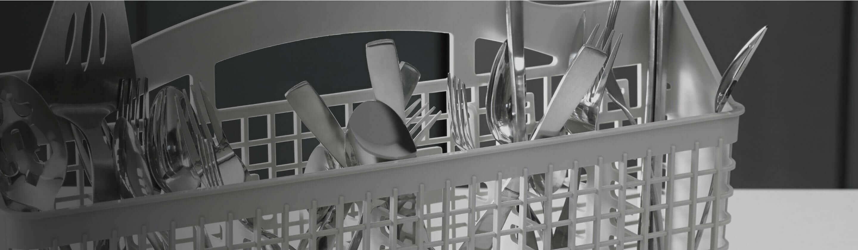 Silverware loaded in dishwasher