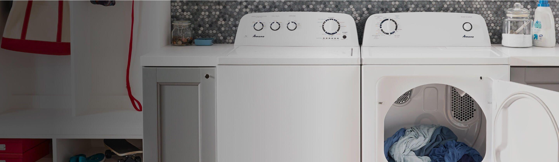 Amana® washer and dryer pair with dryer door open
