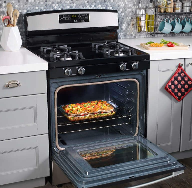 Amana® range oven with door open