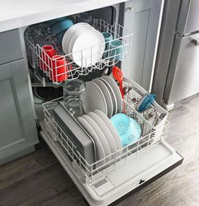 Amana® dishwasher loaded with dishes