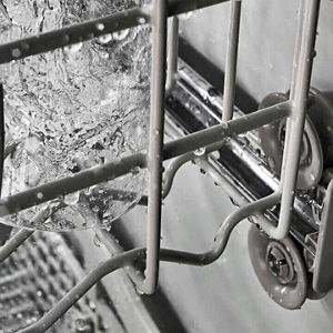 Close up of dishwasher rack