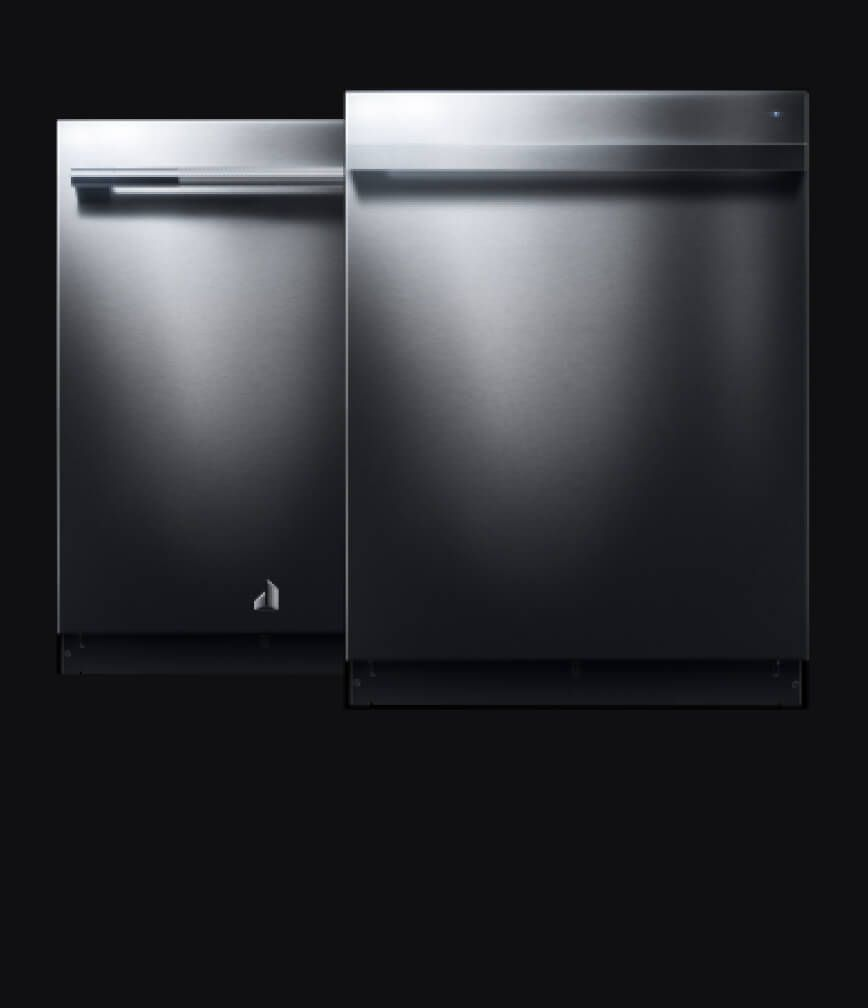 The front of a JennAir® dishwasher with a RISE™ Design panel kit and handle kit.