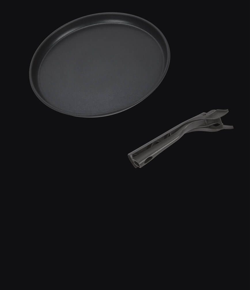 A crisping tray isolated on a black background.