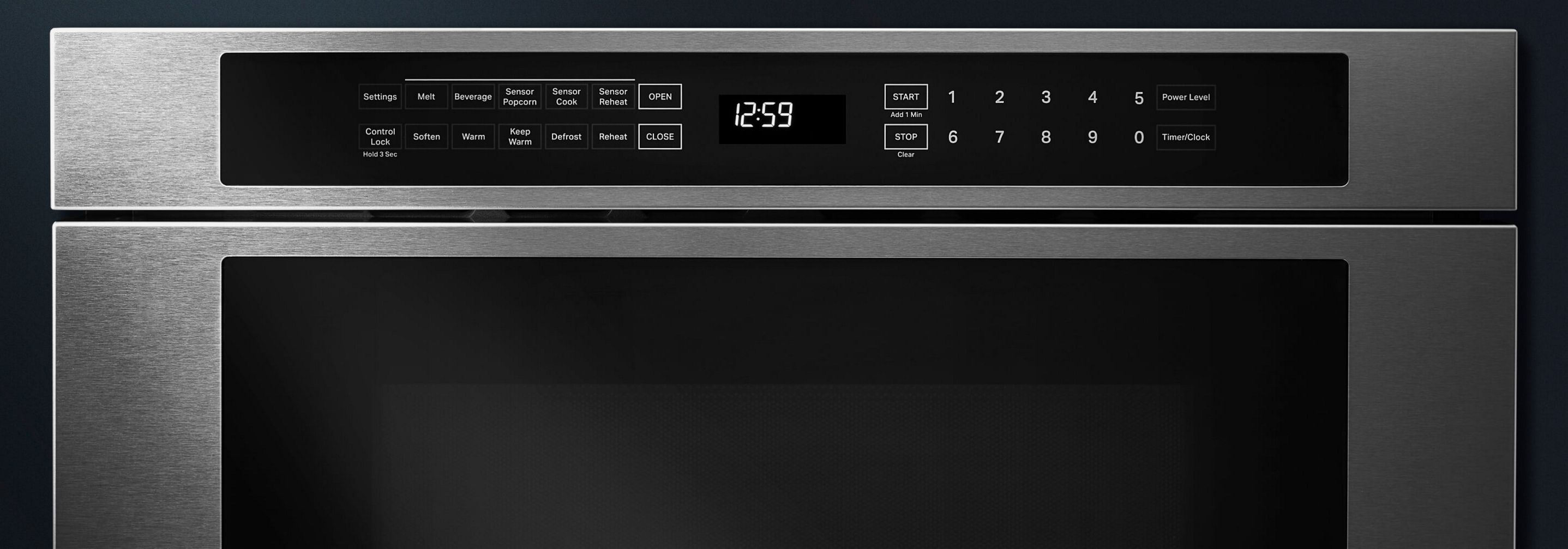 The LCD screen of a JennAir® Microwave.