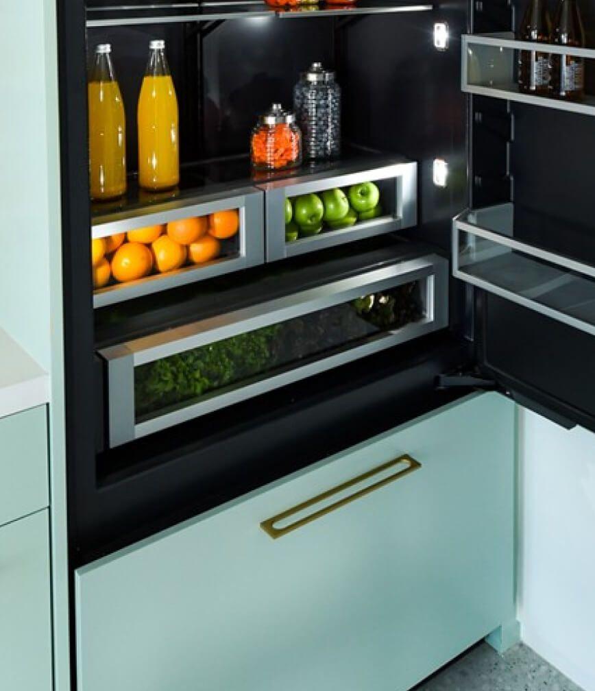 The interior of a JennAir® Built-In Refrigerator.