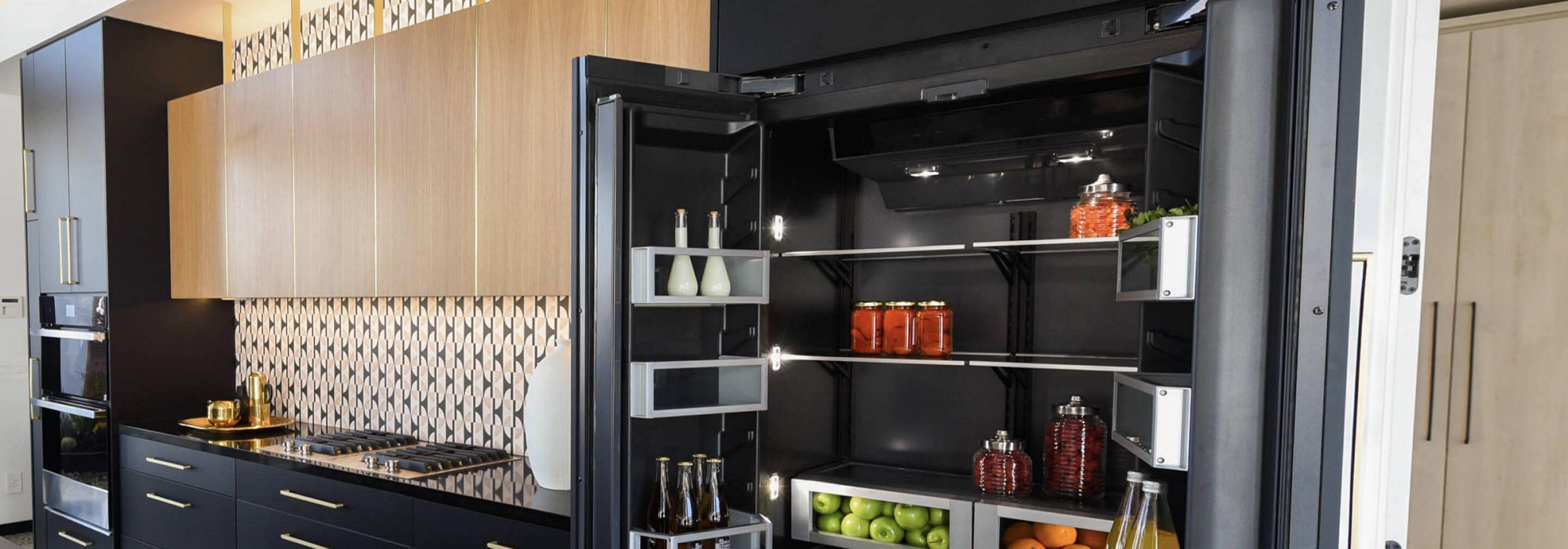 An open JennAir® Built-In Refrigerator.