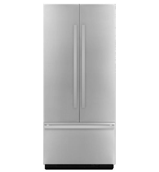 A JennAir® 36-inch Built-In French Door Refrigerator.