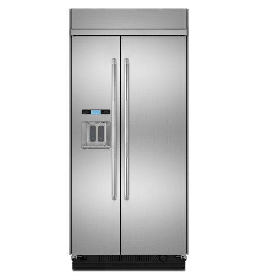 A 42-inch Built-In Side-By-Side Refrigerator with external water dispenser.