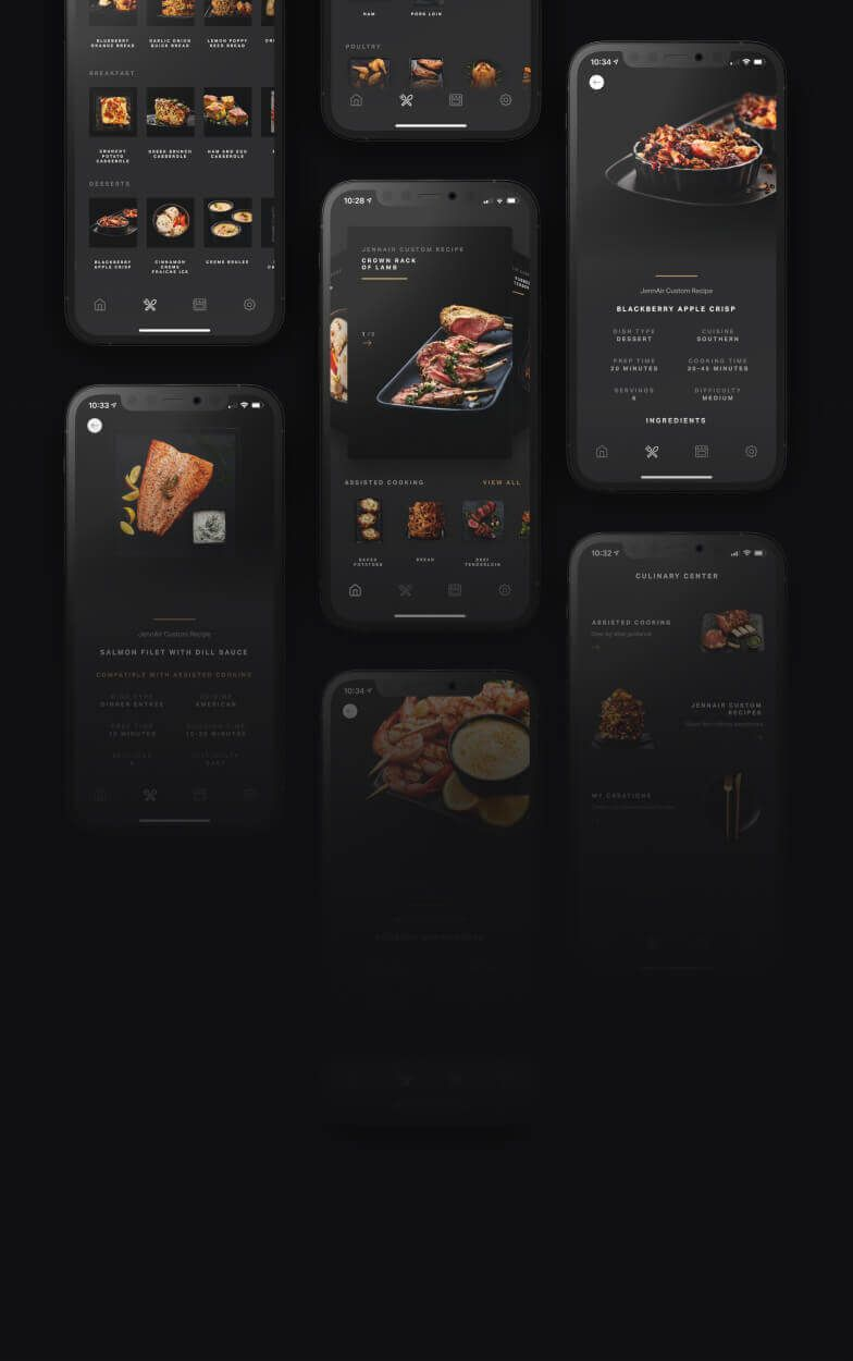 Screens from the Culinary Center on the JennAir app.