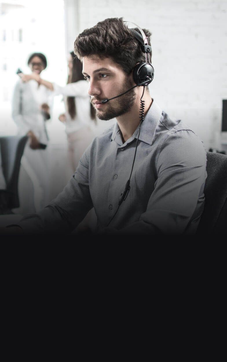 A man wearing a headset.