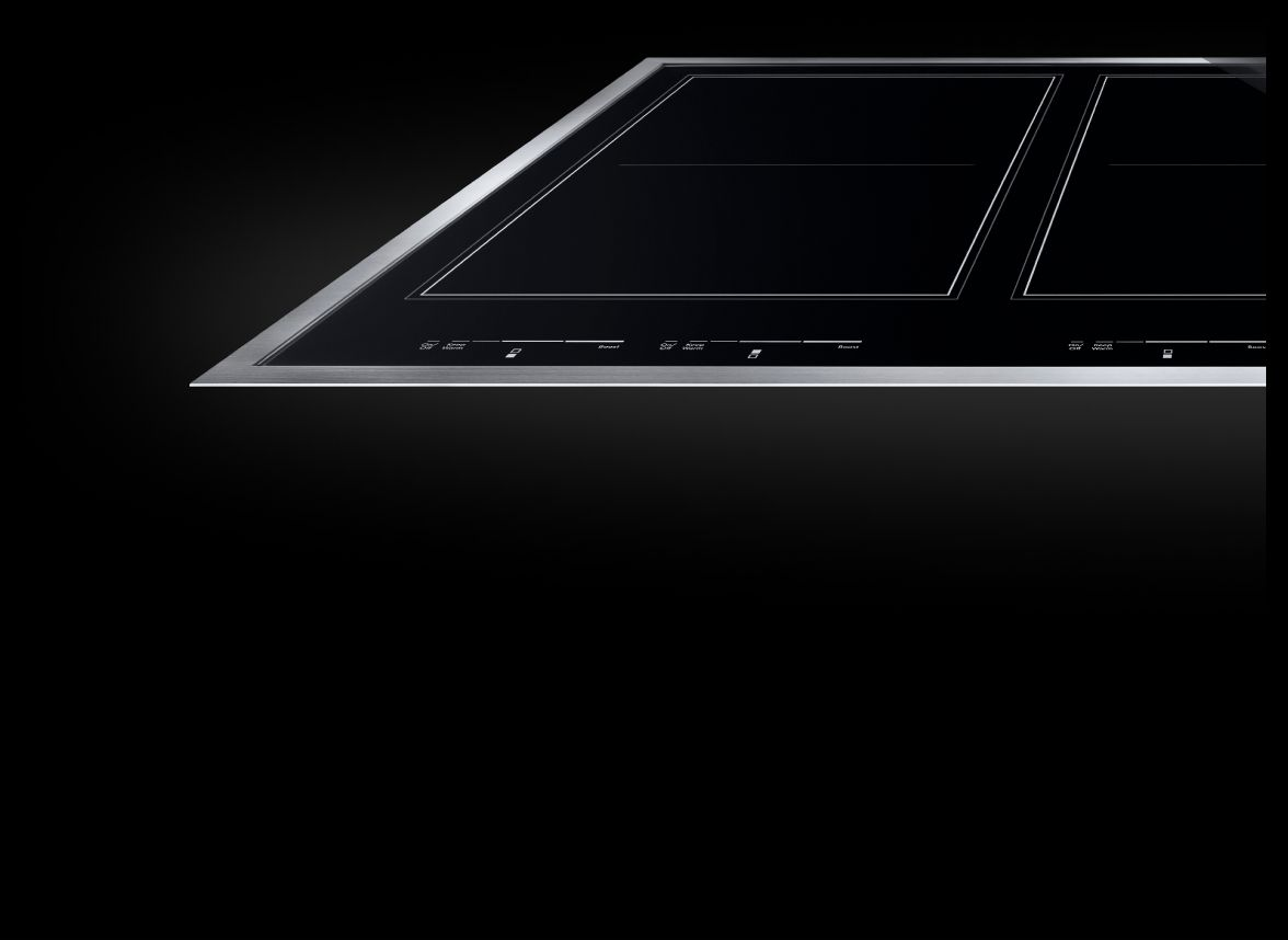 A JennAir® Induction cooktop with a Lustre Stainless frame.