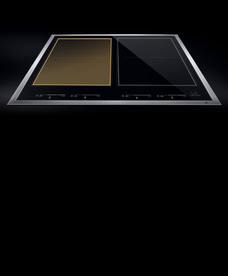 A JennAir® induction cooktop with the bridged flex zone highlighted.