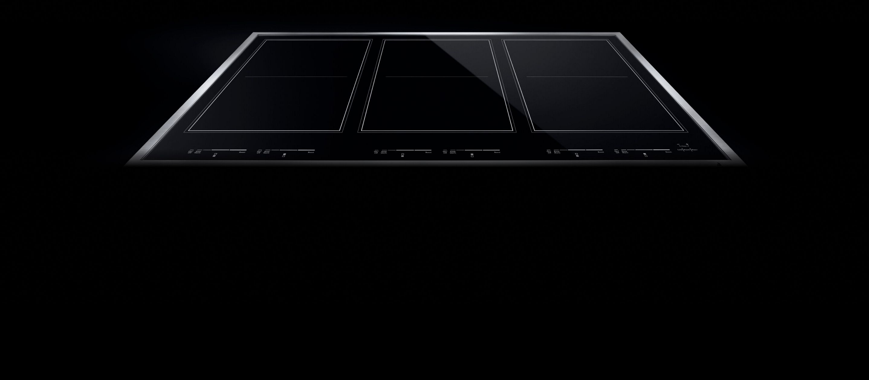A JennAir® induction cooktop with three flex zones.