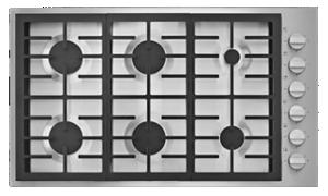 A JennAir® 6-Burner Low-Profile Gas Cooktop.