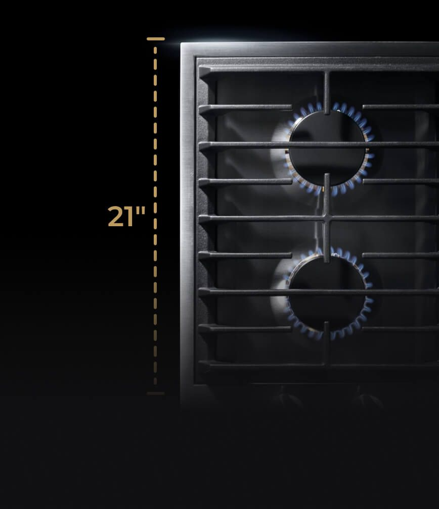 A two-burner gas cooktop with a graphic showing its 21-inch depth.