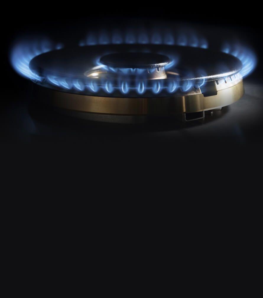 A close-up on the lit brass burner.