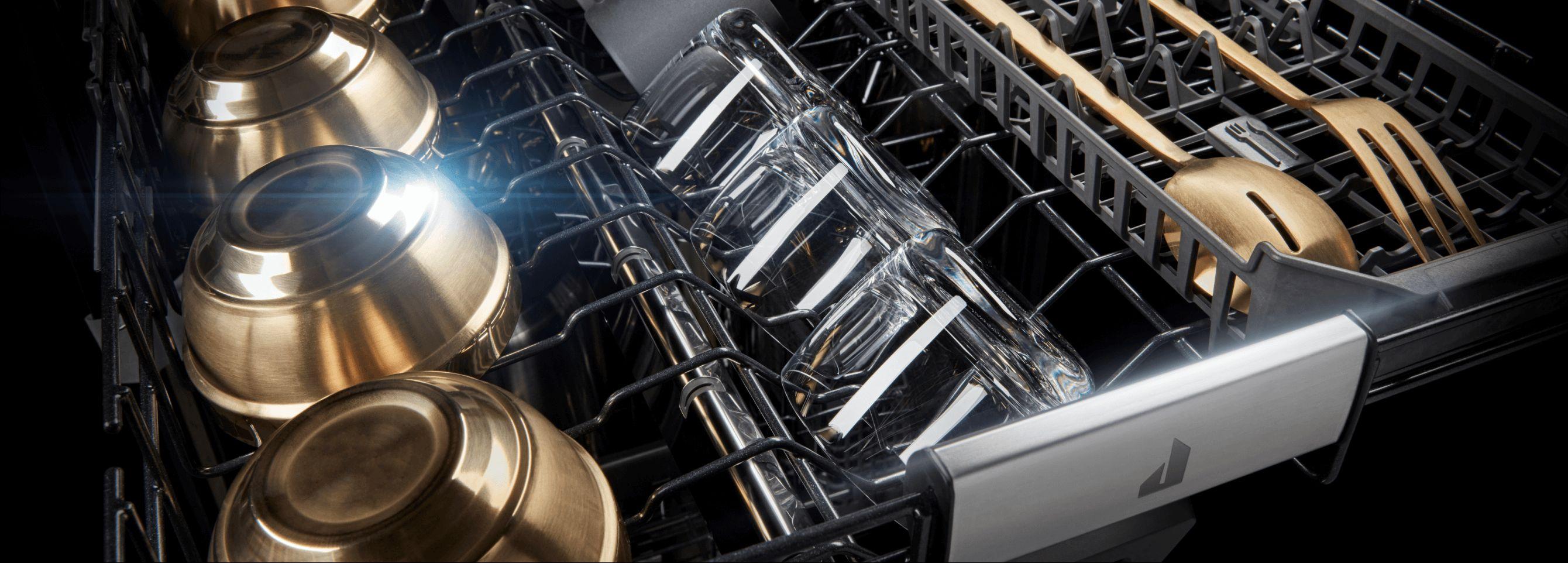 The high-capacity rack inside a JennAir® dishwasher