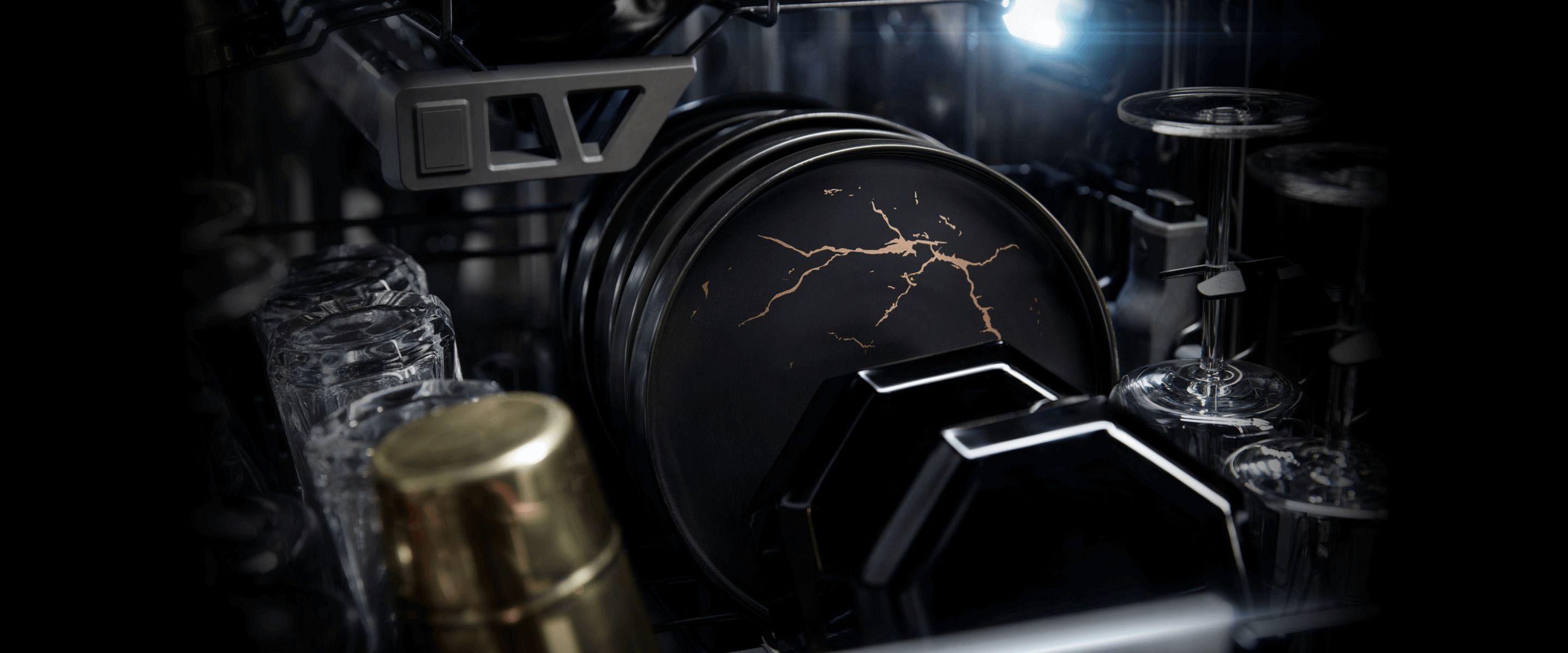 Marbled dishes inside a JennAir® dishwasher.
