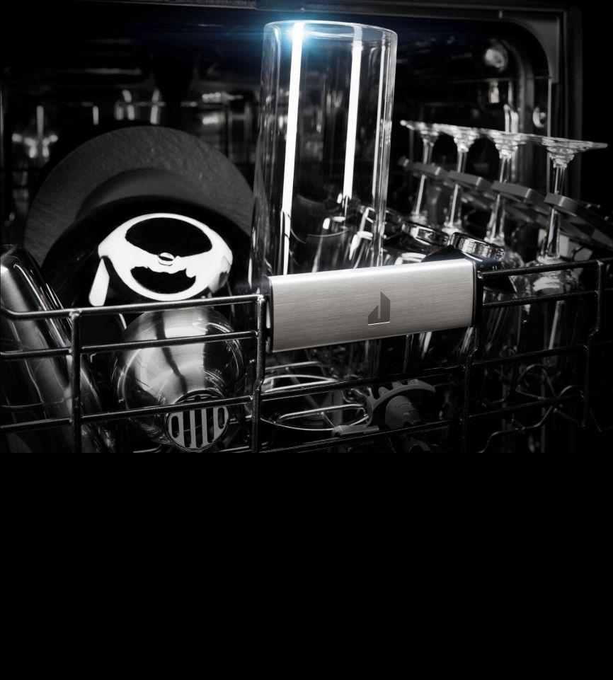 Dishes inside of a JennAir® dishwasher.