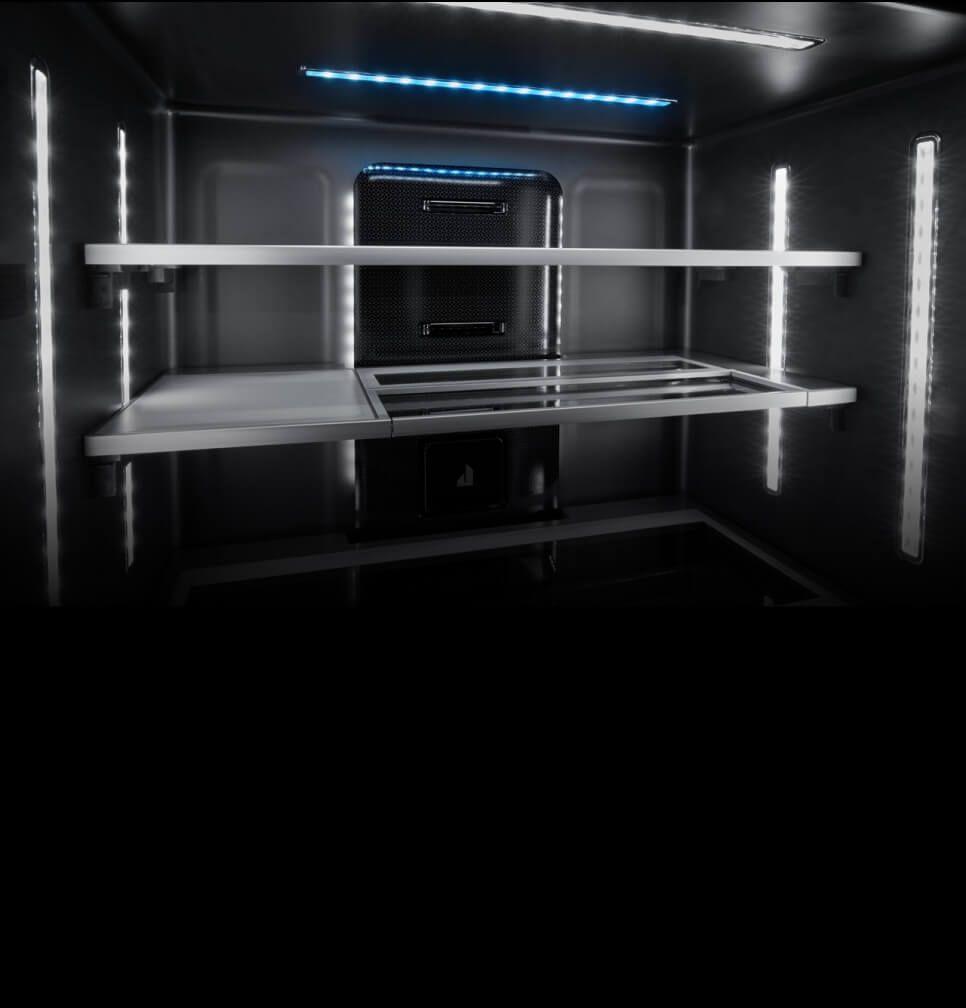 Glass shelves inside an empty refrigerator