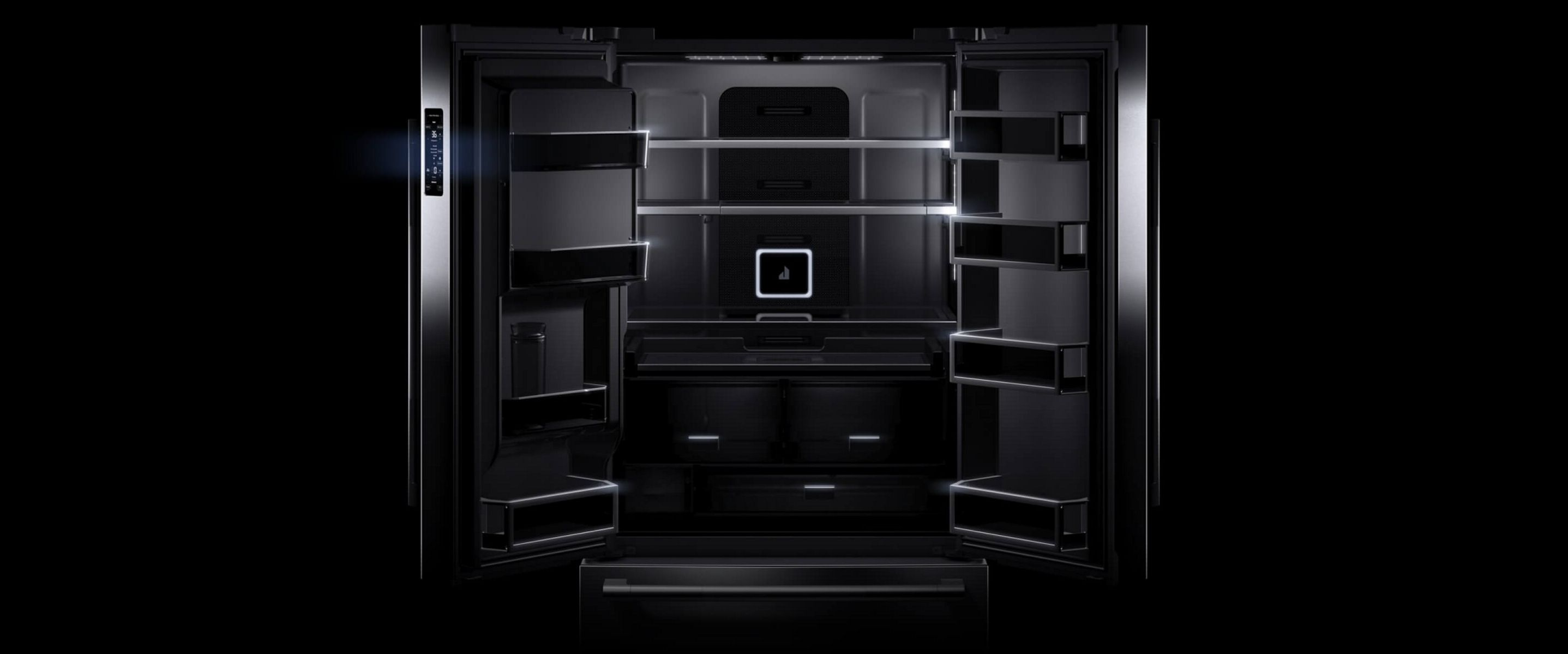 An open JennAir® French Door Refigerator with Obsidian Interior