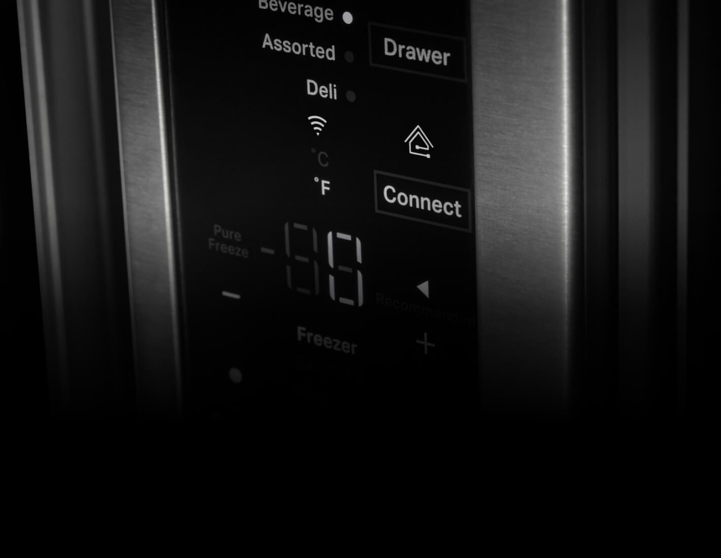 A closeup of refrigerator temperature controls
