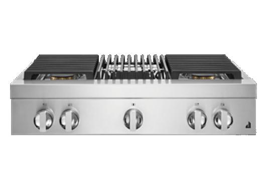 "A 36"" NOIR™ Design Gas Rangetop with a grill."