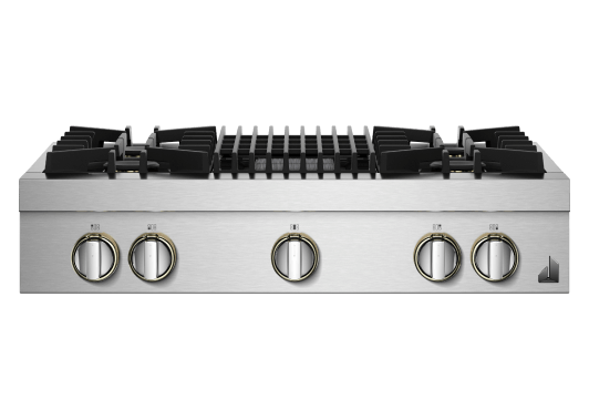 """A 36"""" RISE™ Design Gas Rangetop with a grill."""