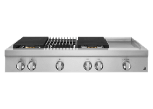 """A 48"""" NOIR™ Design Gas Rangetop with a grill and griddle."""