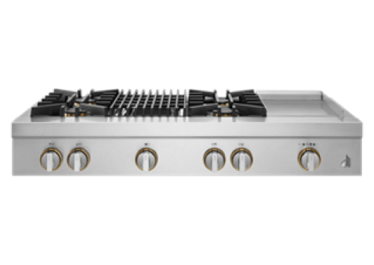 """A 48"""" RISE™ Design Gas Rangetop with a grill and griddle."""