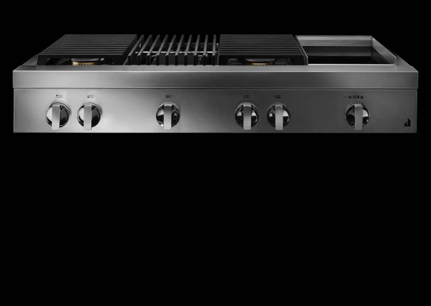 A NOIR™ Design gas rangetop with a grill and griddle.