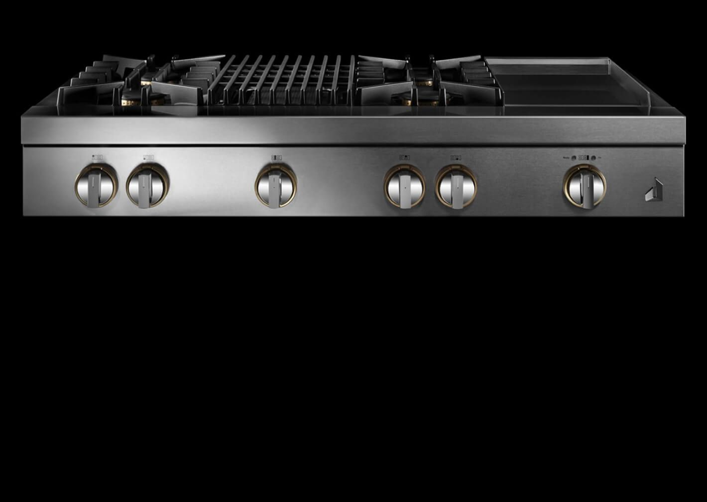 A RISE™ Design gas rangetop with a grill and griddle.