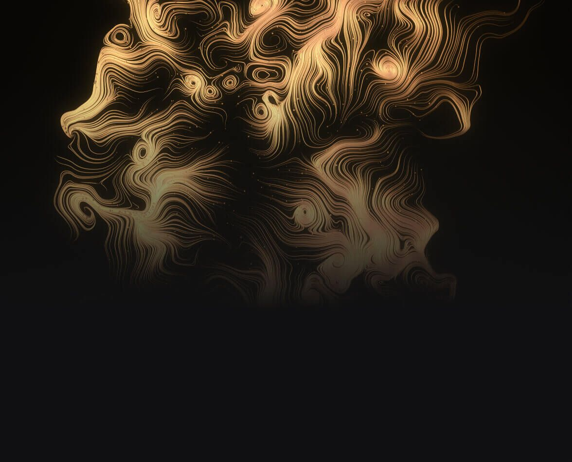Golden tendrils on a black background.