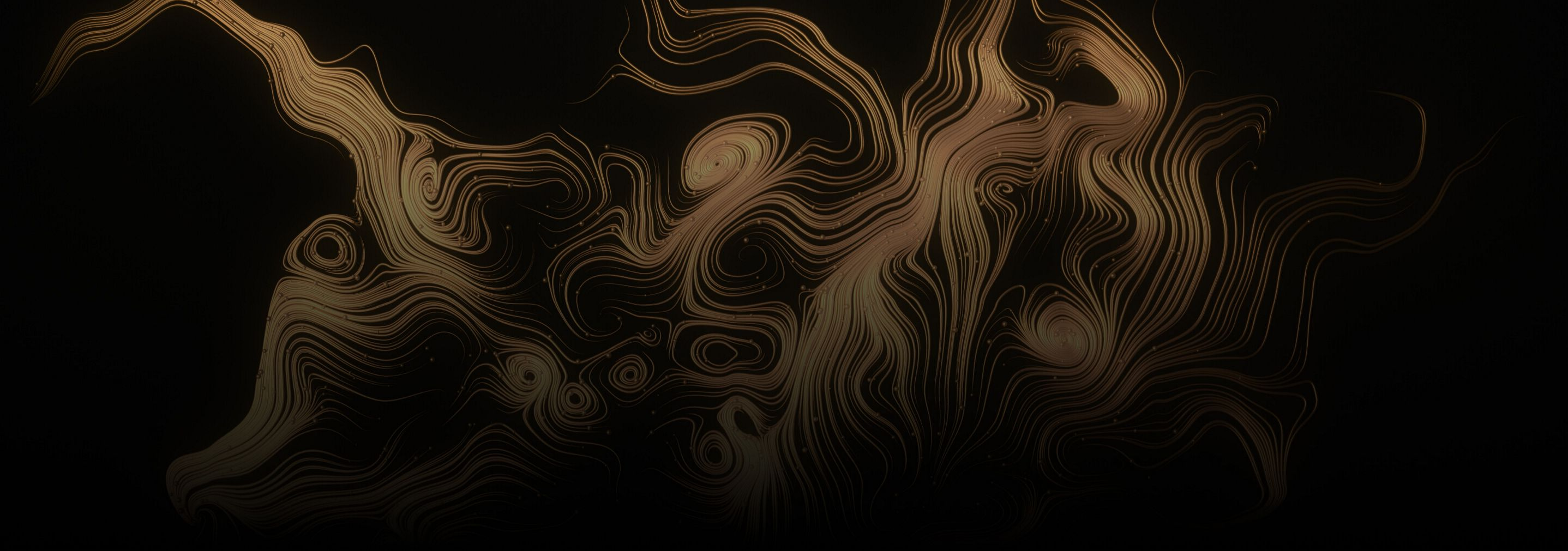 Golden tendrils on a black background.