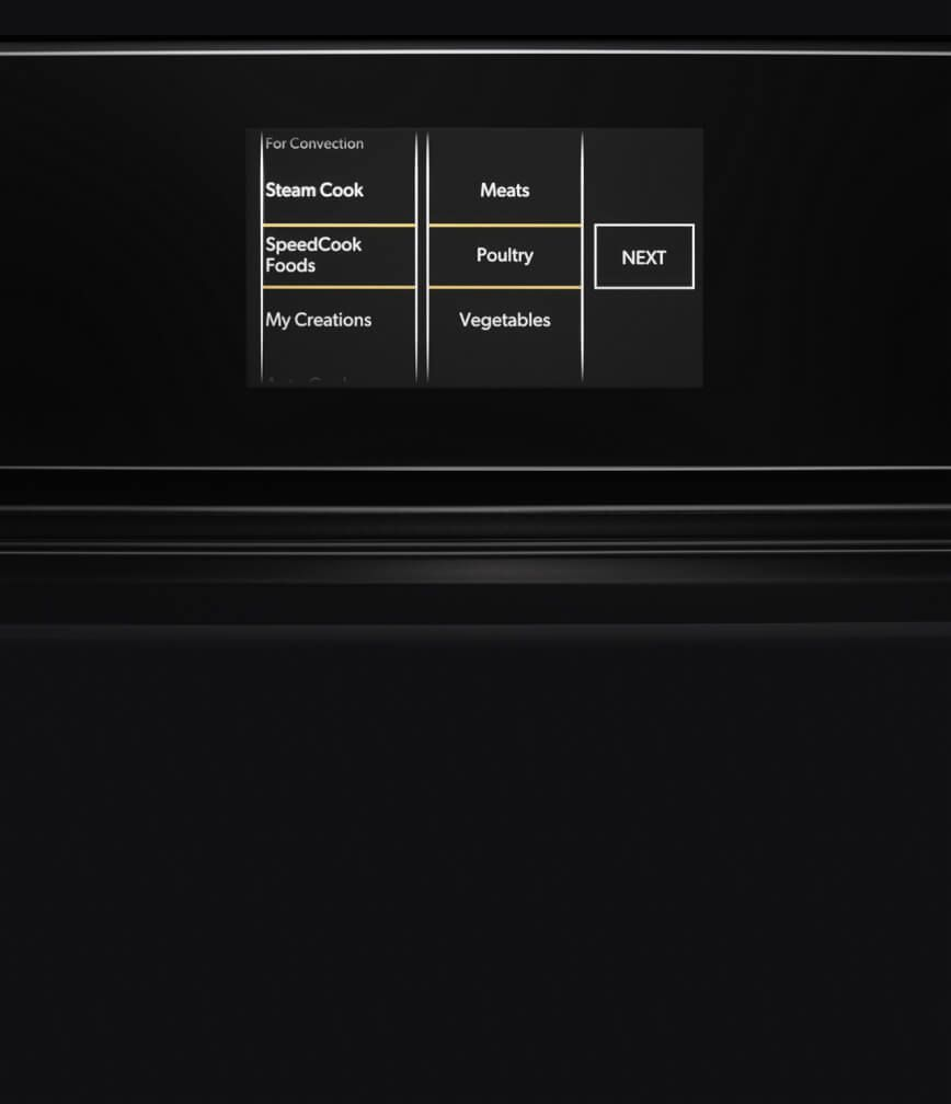 The LCD display on the built-in microwave or speed oven.