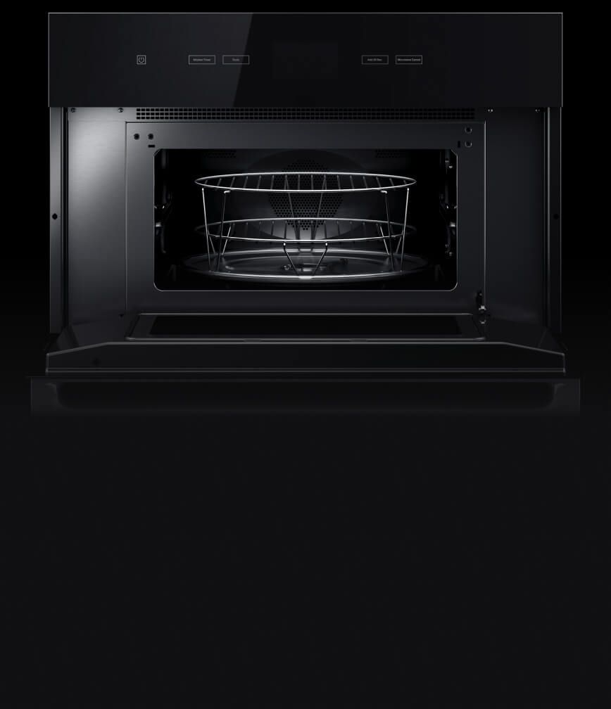 The interior of the built-in microwave or speed oven.