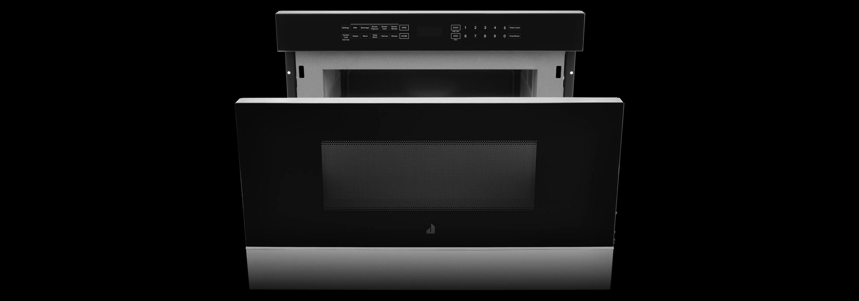 A JennAir® Microwave Drawer opened.