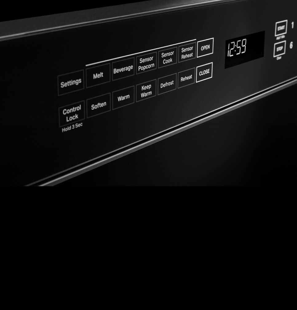 The screen of the microwave drawer, showing the controls.