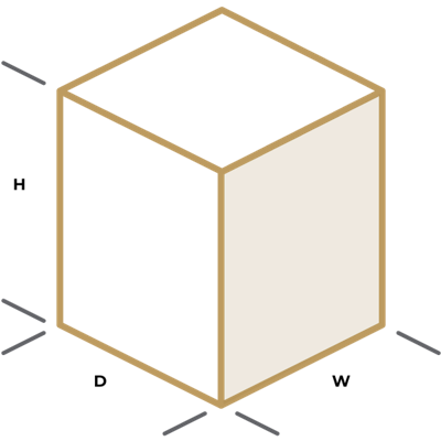 An illustration showing an example of product dimensions.