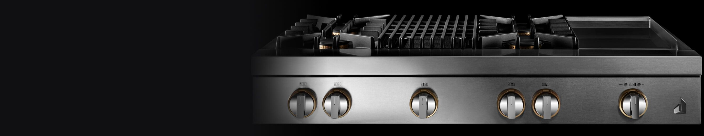 A JennAir® RISE™ Design Rangetop with an electric griddle.