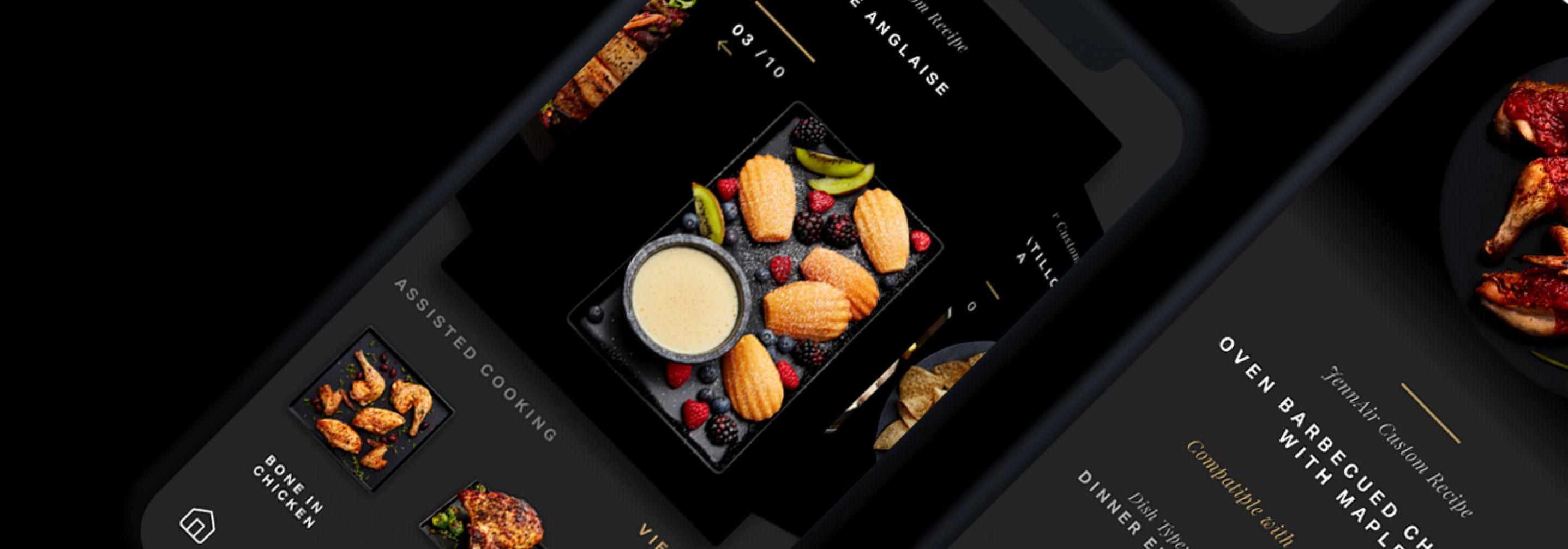 A phone showing recipes available on the JennAir® Culinary Center.