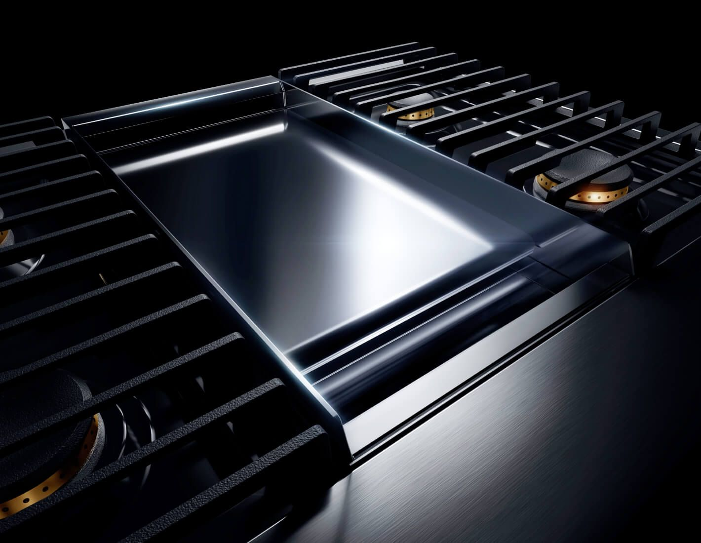 A RISE range with a chrome-infused griddle.