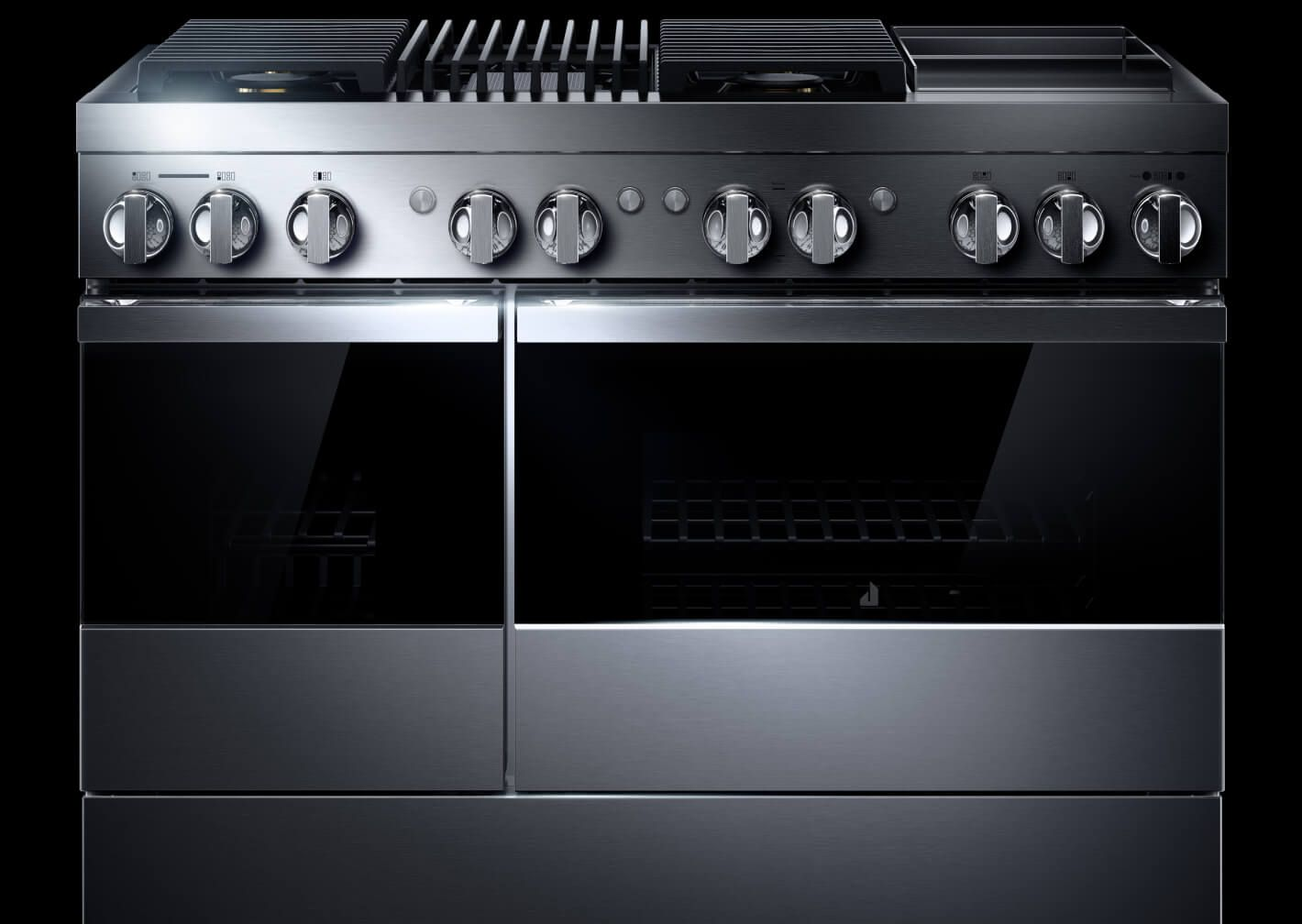 """A 48"""" NOIR Professional-Style Range with a Chrome-Infused Griddle."""