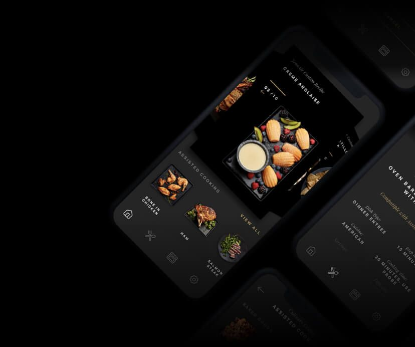 A grouping of JennAir® app screens showing preheating and recipe cards.