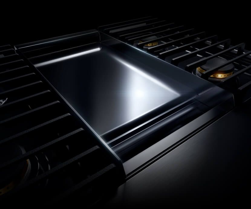 A JennAir® high-end range with a Chrome-Infused Griddle.